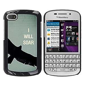 FECELL CITY // Duro Aluminio Pegatina PC Caso decorativo Funda Carcasa de Protección para BlackBerry Q10 // Bird Text Motivational Eagle