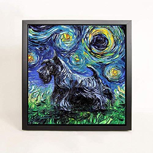Scotty Dog Art FRAMED CANVAS print Starry Night Scottish Terrier Aja Wall Decor 8x8, 10x10, 12x12, 16x16, 20x20, 24x24, 30x30 inches