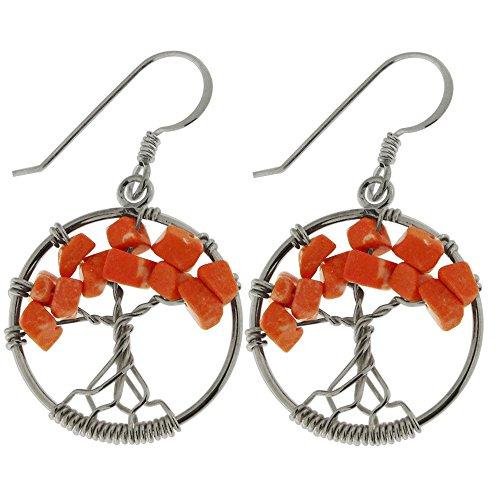 Red Jasper Gemstone Handmade Round Tree of Life 925 Sterling Silver Wire Wrap Hook Earring