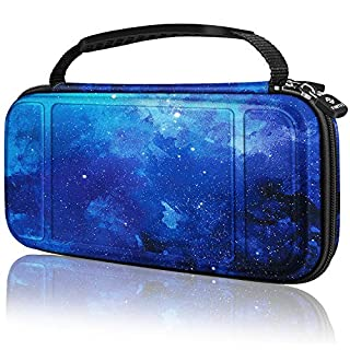 Fintie Carry Case for Nintendo Switch Lite 2019 - [Shockproof] Hard Shell Protective Cover Bag with 15 Game Card/2 Micro SD Card Slots, Inner Pocket for Switch Lite Console & Accessories, Starry Sky