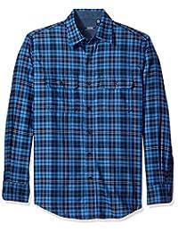Izod Men's Long Sleeve Saltwater Twill Easy-Care Plaid Shirt