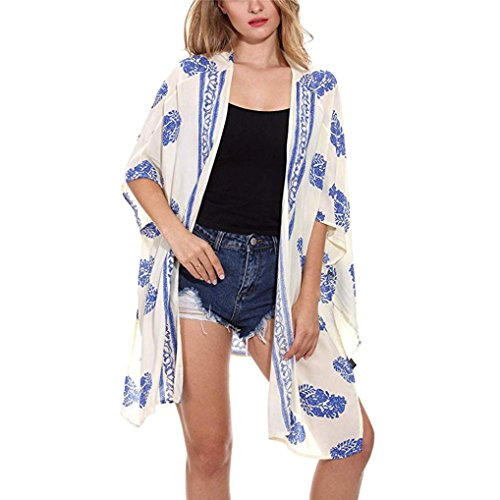 TOPUNDER Floral Print Kimono Cardigan for Women Beach Loose Shawl Top Cover ()