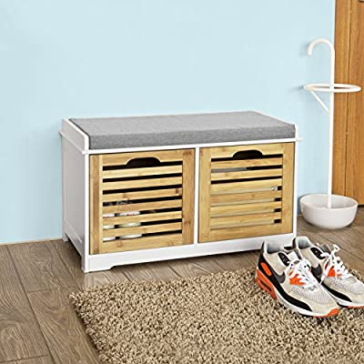 Haotian FSR23-K-WN, Storage Bench with 2 Drawers & Padded Seat Cushion, Hallway Bench Shoe Cabinet Shoe Bench -  - entryway-furniture-decor, entryway-laundry-room, benches - 51yiDwUp8AL. SS400  -
