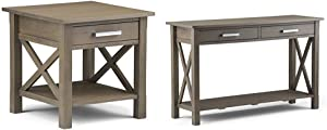 Simpli Home Kitchener End Side Table, Farmhouse Grey + Simpli Home Kitchener Console Sofa Table, Farmhouse Grey :Bundle