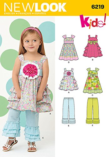 Simplicity Creative Patterns New Look 6219 Toddlers' Dress and Pants, A (1/2-1-2-3-4)
