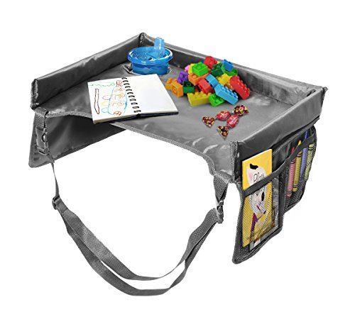 VViViD Kid's Snack & Play Travel Tray - Easy to Clean Black Nylon, Reinforced Sides, Cup Holder, Safety Straps & Mesh Pockets. Great for Car Trips, Plane Trips & More! by VViViD (Image #2)