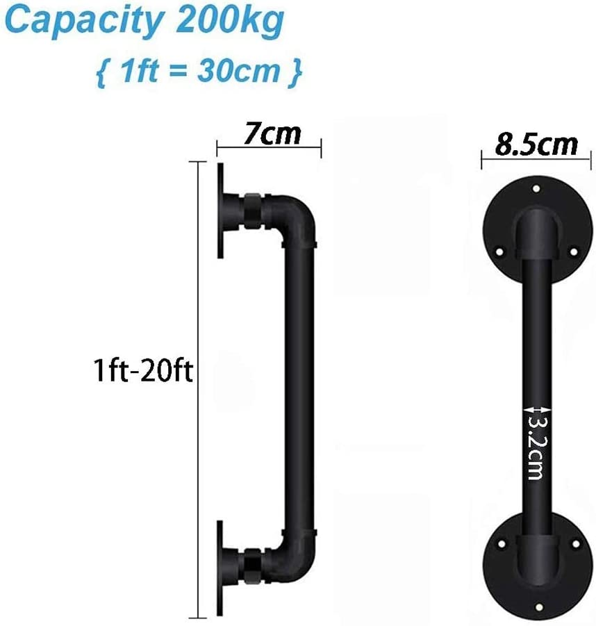 Complete Kit Black Size : 12ft Iron Handrail Stairs Water Pipe Look Hand Rail-for Corridor//Kindergarten//Hospital//Villas XingLi 1ft-20ft Handrail
