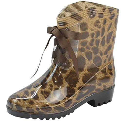 Womens Ankle Shoes QZUnique Lace up Rain Slip Waterproof High Leopard Boots Anti Jelly Rain dxwpf1qxa