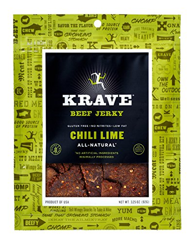 Price comparison product image KRAVE Beef Jerky, Chili Lime, Gluten Free, 3.25 Ounce, (Pack of 4)