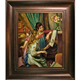 overstockArt Pierre Auguste Renoir Young Girls at the Piano 20-Inch by 24-Inch Framed Oil on Canvas