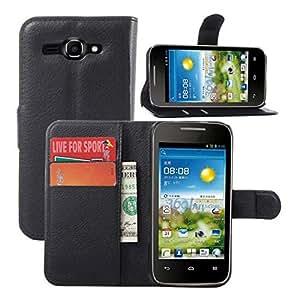 Junsi Wallet Holder Leather Pouch Titular de la bolsa de cuero Case Cover por HuaWei Y520 Colour Black