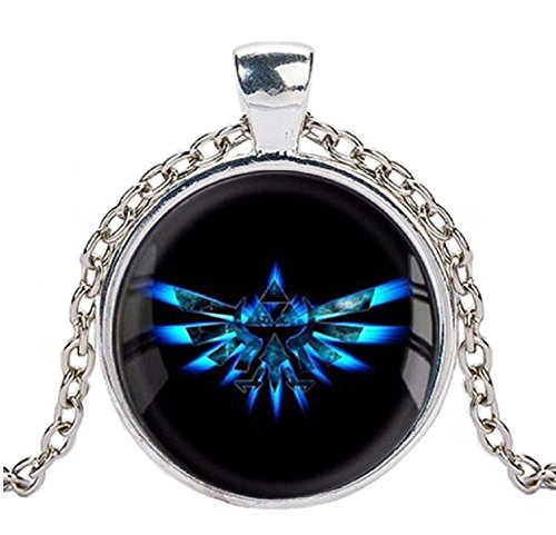 The Legend of Zelda Blue Triforce Logo Glass Domed Pendant Necklace