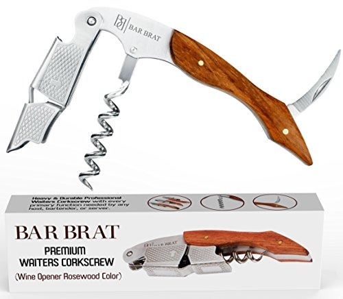 (Wine Opener & Waiters Corkscrew (Rosewood) by Bar Brat TM/Stronger Than Other Wine Openers & Corkscrews/Only Corkscrew You'll Ever Use/Wine Foil Cutter included)