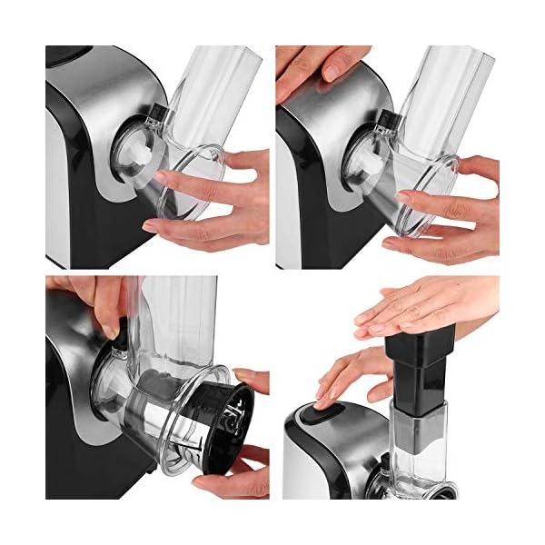 Affettaverdure elettrico elettrico da cucina 150 Watt, tamburo in acciaio inox, 4 lame coniche 5