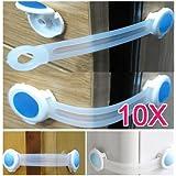 SODIAL(R) 10 x Bambin Bebe Enfants Tirage Armoires Cabinet Porte du Refrigerateur Capture Serrure de securite - Bleu