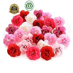 silk flowers in bulk wholesale Fake Flowers Heads Cherry Blossoms Artificial Tea Bud Flower Heads Wedding Home Decoration Scrapbooking DIY 80pcs 4CM (Colorful) 9
