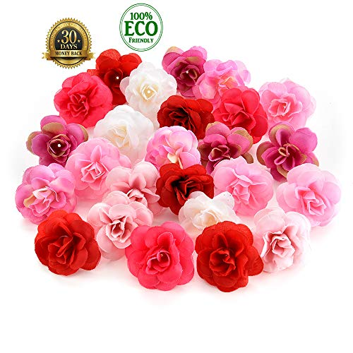 silk flowers in bulk wholesale Fake Flowers Heads Cherry Blossoms Artificial Tea Bud Flower Heads Wedding Home Decoration Scrapbooking DIY 80pcs 4CM (Colorful) -