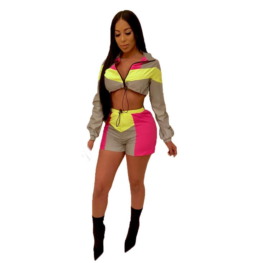 Fafalisa Women Reflective Long Sleeve Splicing Zipper up Trech Shorts Suit 2PCS Sporting Tracksuit Outfit(Pink,XXL)