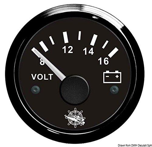 OSCULATI Voltmètre 8/16 V blanc/polie