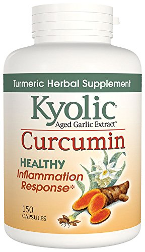 Kyolic Aged Garlic Extract Curcumin Healthy Inflammation Response Supplement (150 Capsules) Odorless Organic Garlic and Turmeric Supplement, Soy- Dairy- Gluten-Free, Gentle on the Gut Garlic Pills