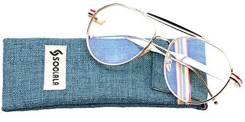 SOOLALA Mens Retro Oversized Classic Aviator Eyeglass Frame Big Reading Glass, Gold, - Presription Sunglasses