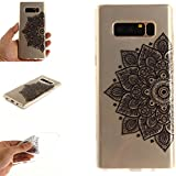 Galaxy Note8 Case, Note8 Cover, MerKuyom Durable [Clear Transparent] [Slim-Fit] Flexible Gel Crystal Soft TPU Case Skin Cover For Samsung Galaxy Note 8 Note8 , W/ Stylus (Half Black Flower Petal)