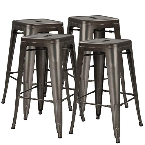 "Waleaf 24"" Metal Stools Indoor/Outdoor Counter Height Stackable Bar Stool Modern Style Restaurant Cafe Chic Bistro Side Stool. Set of 4(Gun Metal) ()"