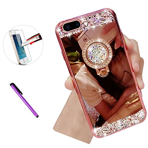 iPhone 6/6S Plus Case, ISADENSER Soft Rubber Bumper Crystal Rhinestone Bling Diamond Mirror Makeup Case Cover For iPhone 6/6S Plus 5.5