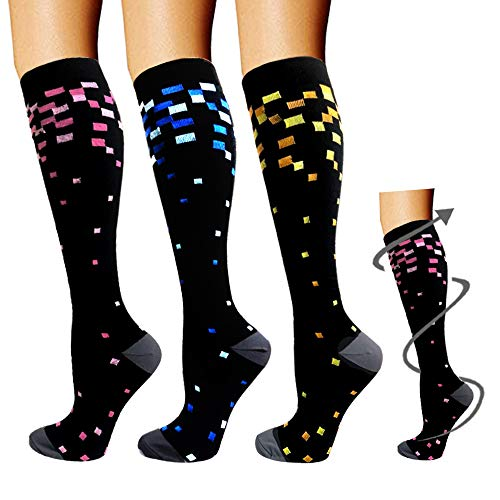 Compression Socks 3/5 Pairs For Women & Men-Best Compression Stockings For Running – 15-20mmHg (Small/Medium, Assorted 20)