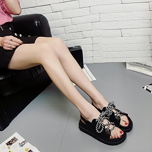 Deesee (tm) Donna Bohemia Per Il Tempo Libero Sandali Piatti Sandalo Scarpe Casual Allaperto Nere