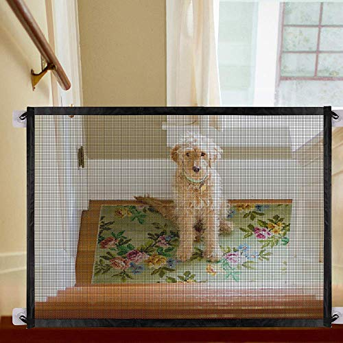 WICHEMI Magic Gate,Non-Retractable Wider Pet Safety Enclosure,Portable Folding Safe Guard Mesh Fence Net for Pets Dog Puppy Cat Install Anywhere ()