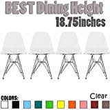 2xhome - Set of Four (4) - Clear - Eames Style Side Chair Wire Legs Eiffel Dining Room Chair - Lounge Chair No Arm Arms Armless Less Chairs Seats Wire Leg Legged Base