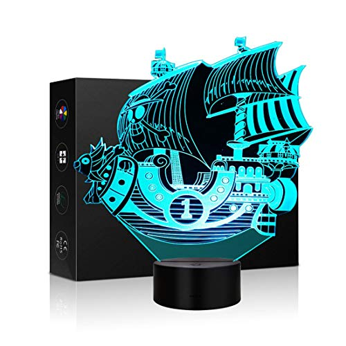 Pirate Ship 3D Optical Illusion LED Lamp Boat Shapes Children Bedroom NightLight 7 Colors Illusion Lamp in a Nursery or Bedroom a Great Gift for Kiddie Kids Children