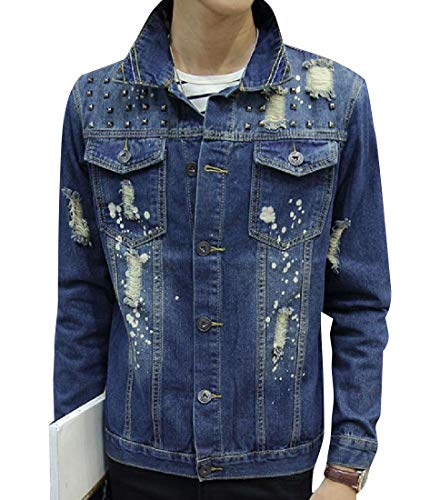Trucker MogogoMen Casual Jacket Distressed Blue Handsome Beaded Slim qXp7XrwB