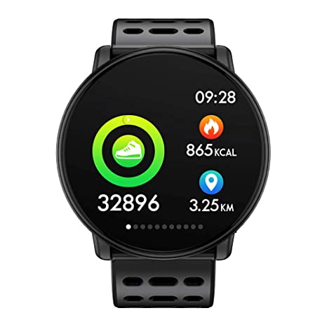 Azorex SmartWatch Multifunción Reloj Inteligente Redondo Deportivo Impermeable IP67, Pulsera Actividad Control Remoto para iPhone