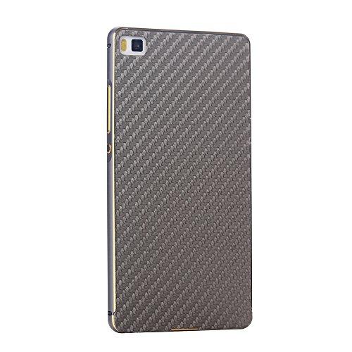 Huawei Ascend P8 Funda Case LifeePro Stylish 2 in 1 Patrón de teléfono híbrido [Anti-rasguños] [Antideslizante] Resistente a los golpes PU Cuero Gris Contraportada + Caja de parachoques de aluminio pa Gris