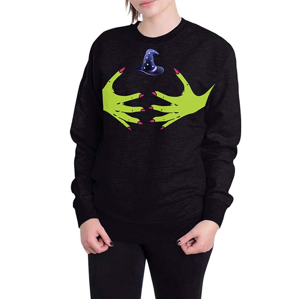 kaifongfu Halloween Sweater Top,Women Halloween 5D Ghost Print Long Sleeve Top(Black,2XL)