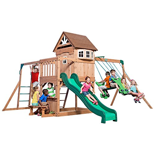 ontpelier All Cedar Wood Playset Swing Set (Discovery Playhouse)
