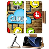 Luxlady Premium Samsung Galaxy S7 Flip Pu Wallet Case IMAGE ID: 34402076 Aerial View of People and Cloud Computing Concepts
