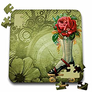 Dooni Designs Steampunk Designs – Vintage Victorian Steampunk Roller Skate Boot with Red Rose Clock Background – 10×10 Inch Puzzle (pzl_102680_2)