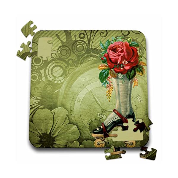 Dooni Designs Steampunk Designs - Vintage Victorian Steampunk Roller Skate Boot with Red Rose Clock Background - 10x10 Inch Puzzle (pzl_102680_2) 3