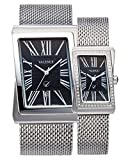 VALENCE VC-003B Couple His and Hers Roman Numeral Silver Mesh Stainless Steel Fashion Luxury Wrist Watch