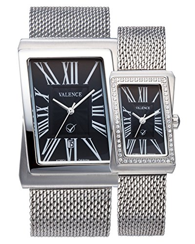 VALENCE VC-003B Couple His and Hers Roman Numeral Silver Mesh Stainless Steel Fashion Luxury Wrist Watch by Julius