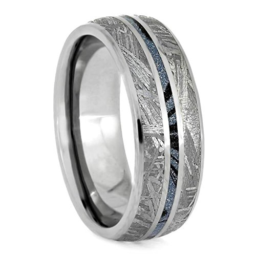 The Men's Jewelry Store (Unisex Jewelry) Gibeon Meteorite, Blue Mokume Gane 7mm Titanium Comfort-Fit Wedding Band, Size 13.25