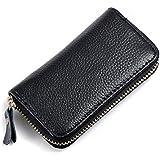 KLOUD City® Car Keychain Key Holder Bag Wallet Cover/Six Key Hook Zipper Case with Card Holder (Black)