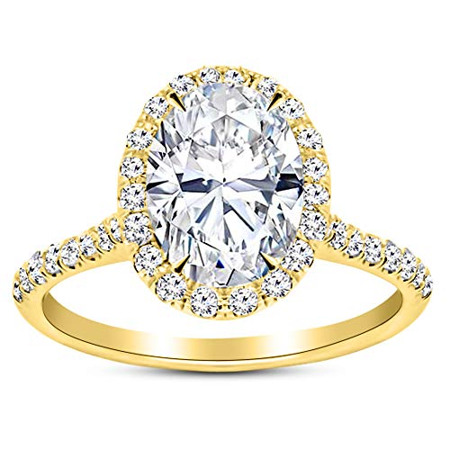 1.45 Carat GIA Certified 14K Yellow Gold Halo Oval Cut Diamond Engagement Ring (0.7 Ct F Color VS2 Clarity - Ct 1.45 Round Diamond
