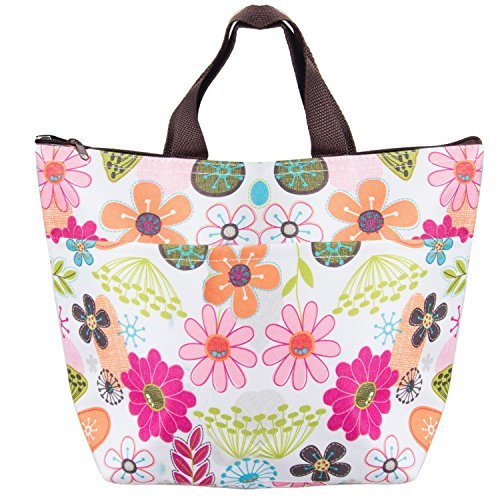 WATINC Lunch Bags, Lunch Box Package Arricastle Oxford Cloth Aluminum Foil Insulated Zip Portable Takeaway Aluminum Film Pack Cooler Bag(Colorful flowers)