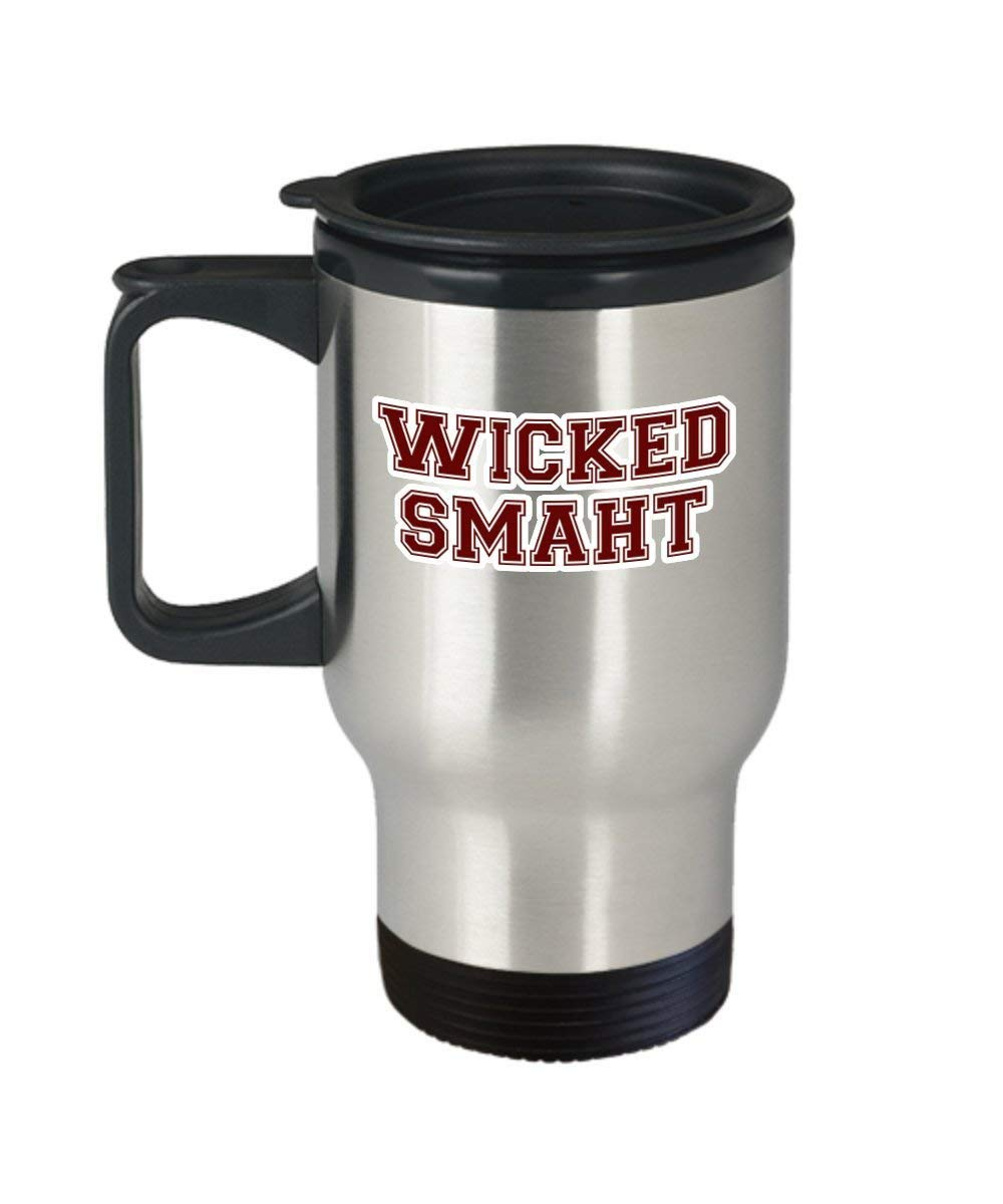Wicked Smart Coffee Mug Cup (Travel) 14oz Boston College Accent Graduation Gifts Merchandise Accessories Shirt Poster Sticker Pin Vinyl Decal Artwork