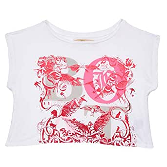 John Galliano Pink & White Round Neck Blouse For Girls