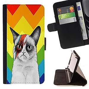 King Case - FOR Sony Xperia Z3 Compact - One should love animals - Prima caja de la PU billetera de cuero con ranuras para tarjetas, efectivo Compartimiento desmontable y correa para la mu?eca